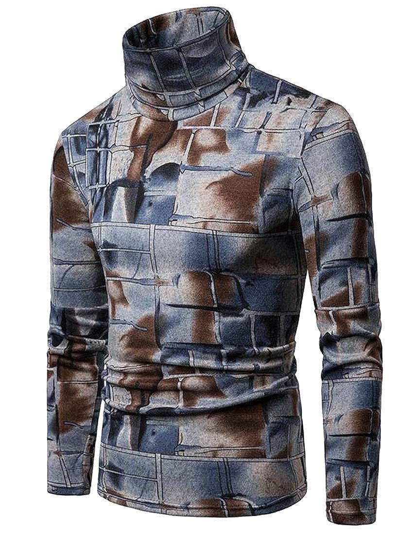 MK988 Mens Digital Print Turtleneck Knitted Slim Pullover Thermal Sweaters