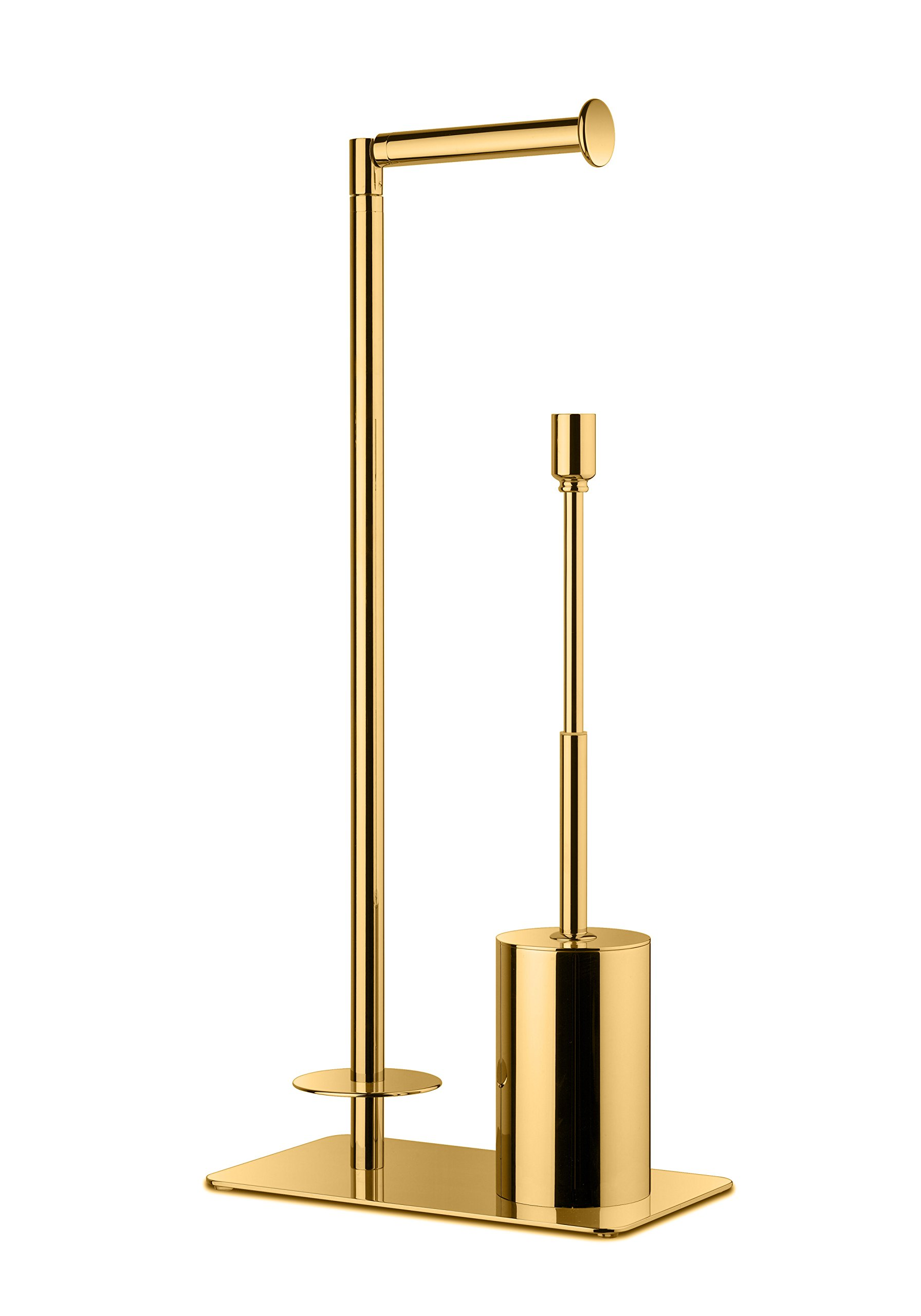 Standing Toilet Brush Bowl and Storage Spare Toilet Paper Holder Set, Brass (Polished Gold)