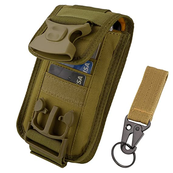 IronSeals 2 Pouch Fasten Lock Card Holder Organizer, EDC Utility Gadget Pouch Cellphone Holster Tactical Belt Waist Gear Bag with Card Slots for iPhone ...