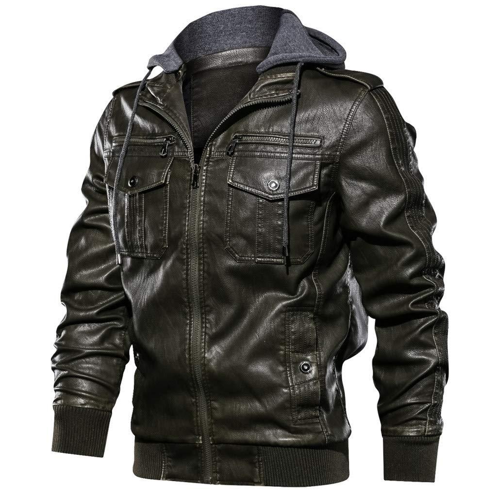Men Hoodie Vintage Jacket, NDGDA Male Multi-Pockets Autumn Winter Zipper Pure Color Imitation Leather Long Sleeved Coat by NDGDA 🔰 Men's Jacket & Coat
