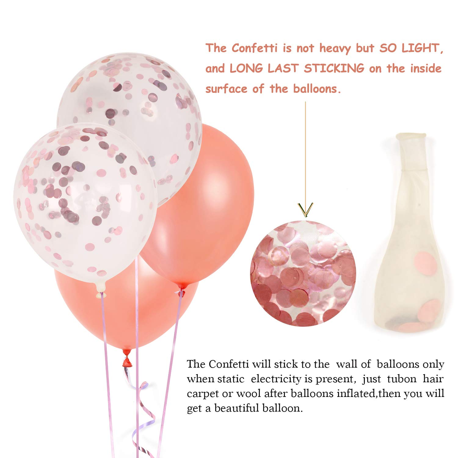 60 Pieces 12inch Rose Gold Confetti Balloon Set Including 20 Pcs Pre Filled Balloons