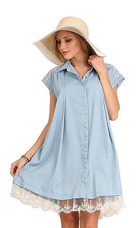426c0b0b7 Umgee Women s Button Up Lace   Denim Dress Boho Chic (Small