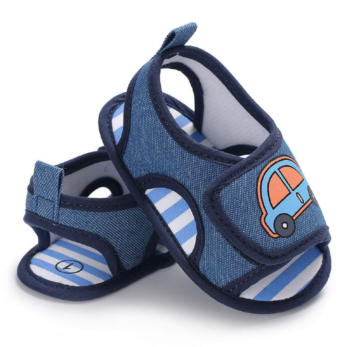 Infant Sandals FAPIZI Baby Boy Girl Car Print Soft Sole Crib Newborn Shoes Casual Lightweight Flats
