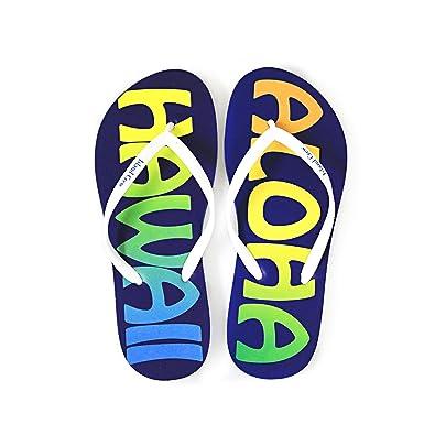 Hawaiian Print Sunset Beach Palm Hibiscus Wave Women Flip Flops Sandals In Aloha Hawaii