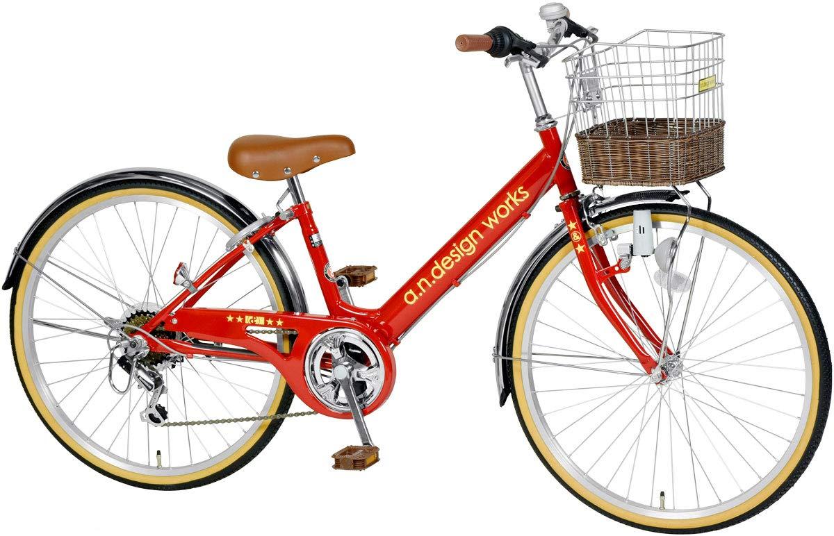 【a.n.design works】(エーエヌデザインワークス) V246 レッド 24インチ 130cm~ 子供用自転車 子供車 ジュニアサイクル キッズバイク こども 子ども ダイナモライト 藤風カゴ   B008MRXXRA