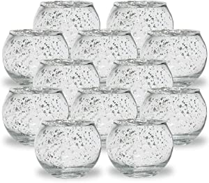 Just Artifacts Round Mercury Glass Votive Candle Holders 2-Inch Speckled Silver (Set of 12) - Mercury Glass Votive Candle Holders for Weddings and Home Décor