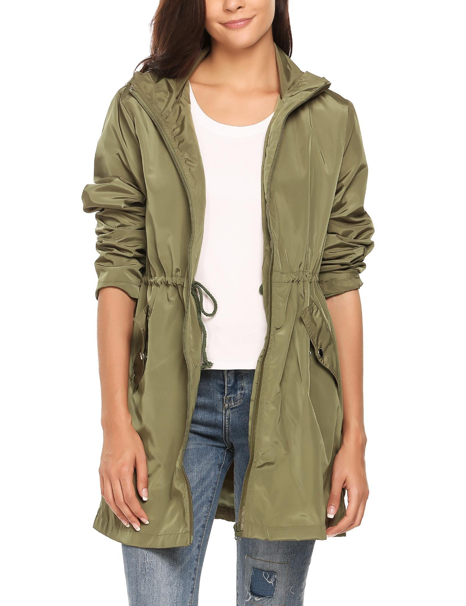 Zeagoo Women Long Style Waterproof Hooded Raincoat Clothing Rainwear Rain Jacket Army Green L