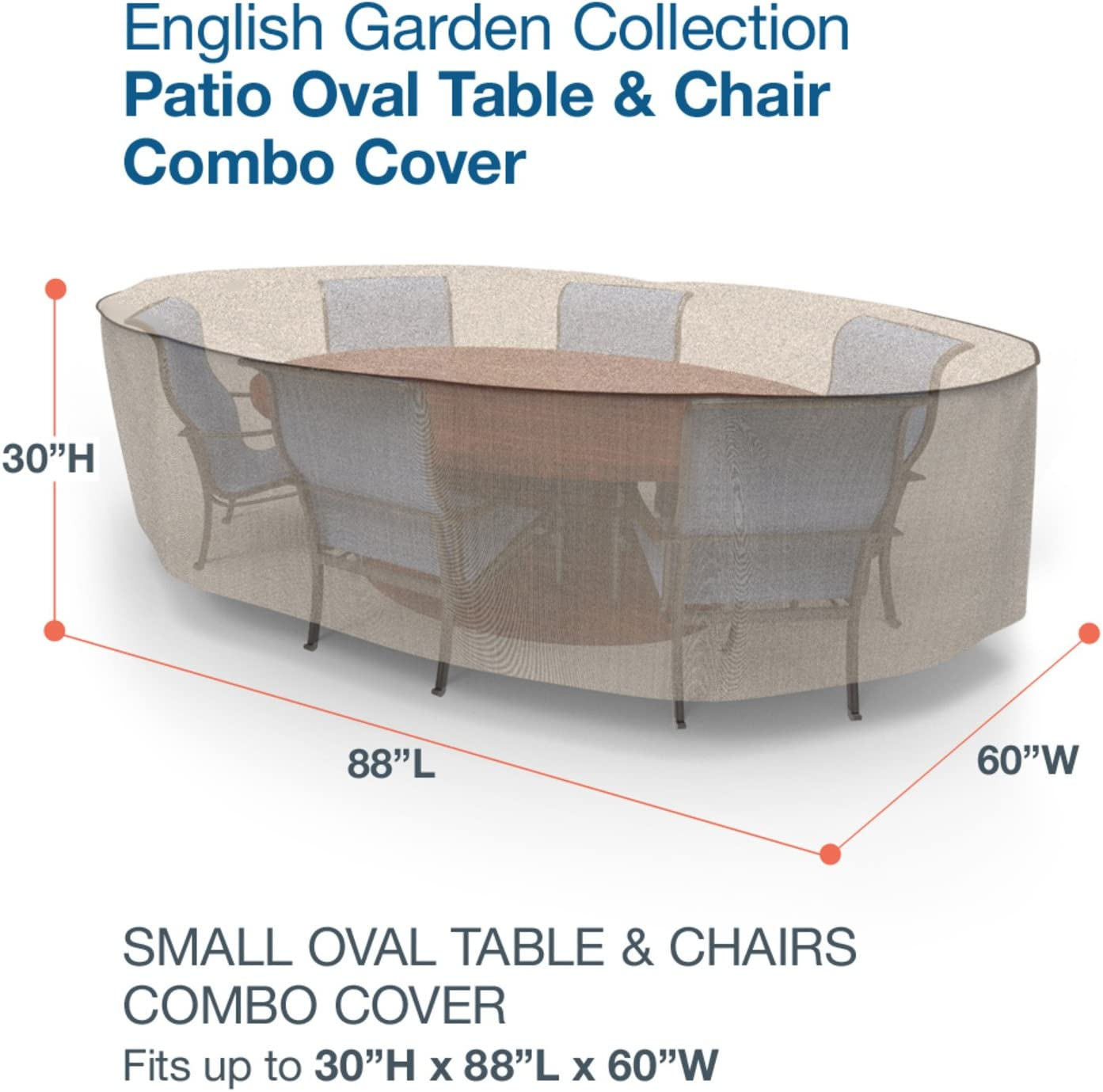 Budge P5A11PM1 Oval Table and Chairs Combo Heavy Duty and Waterproof Patio Furniture Covers Two-Tone Tan Small