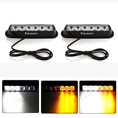 Favson 6 LED Strobe Lights for Trucks Cars Van with Super Bright White&Yellow Emergency Flasher(4 pcs) (2pcs): Automotive