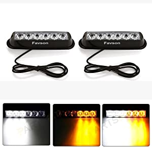 Favson 6 LED Strobe Lights for Trucks Cars Van with Super Bright White&Yellow Emergency Flasher(4 pcs) (2pcs)