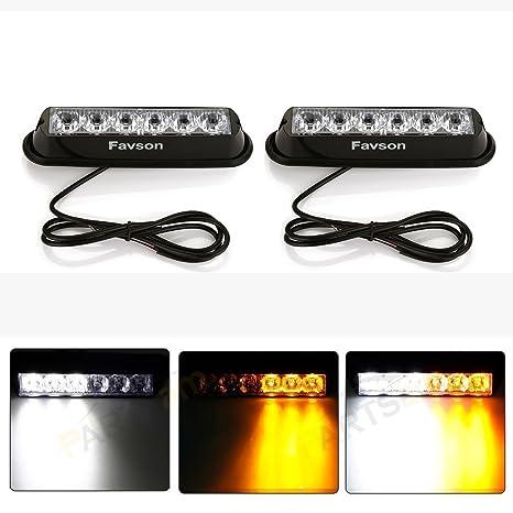 Led Strobe Lights For Trucks >> Favson 6 Led Strobe Lights For Trucks Cars Van With Super Bright White Yellow Emergency Flasher 4 Pcs 2pcs