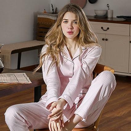 Se puede usar al aire libre Pijamas de mujer Primavera y otoño Conjunto de algodón de