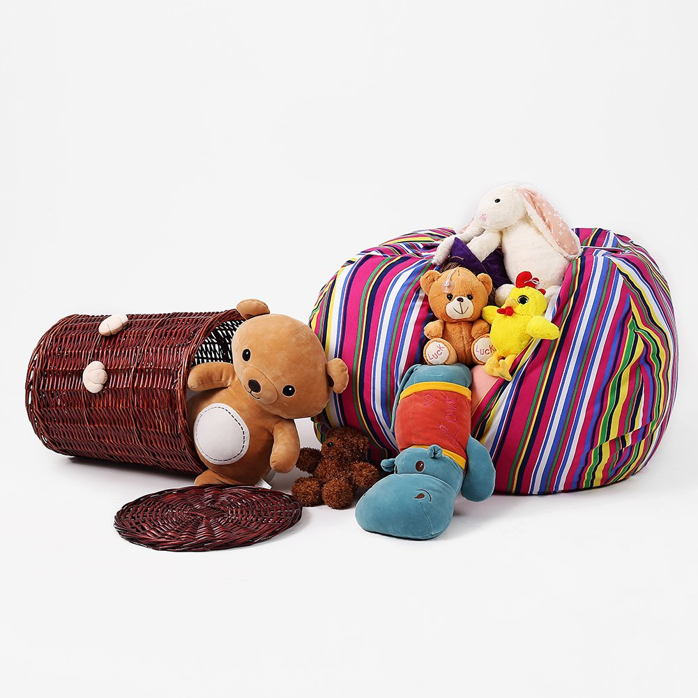 Stuffed Animal Storage Kids' Bean Bag Chair - Cotton Canvas Children's Plush Toy Organizer storage bag, Storage Solution for Plush Toys, Blankets, Towels & Clothes (48'',Colorful stripes) by Lanlin (Image #5)