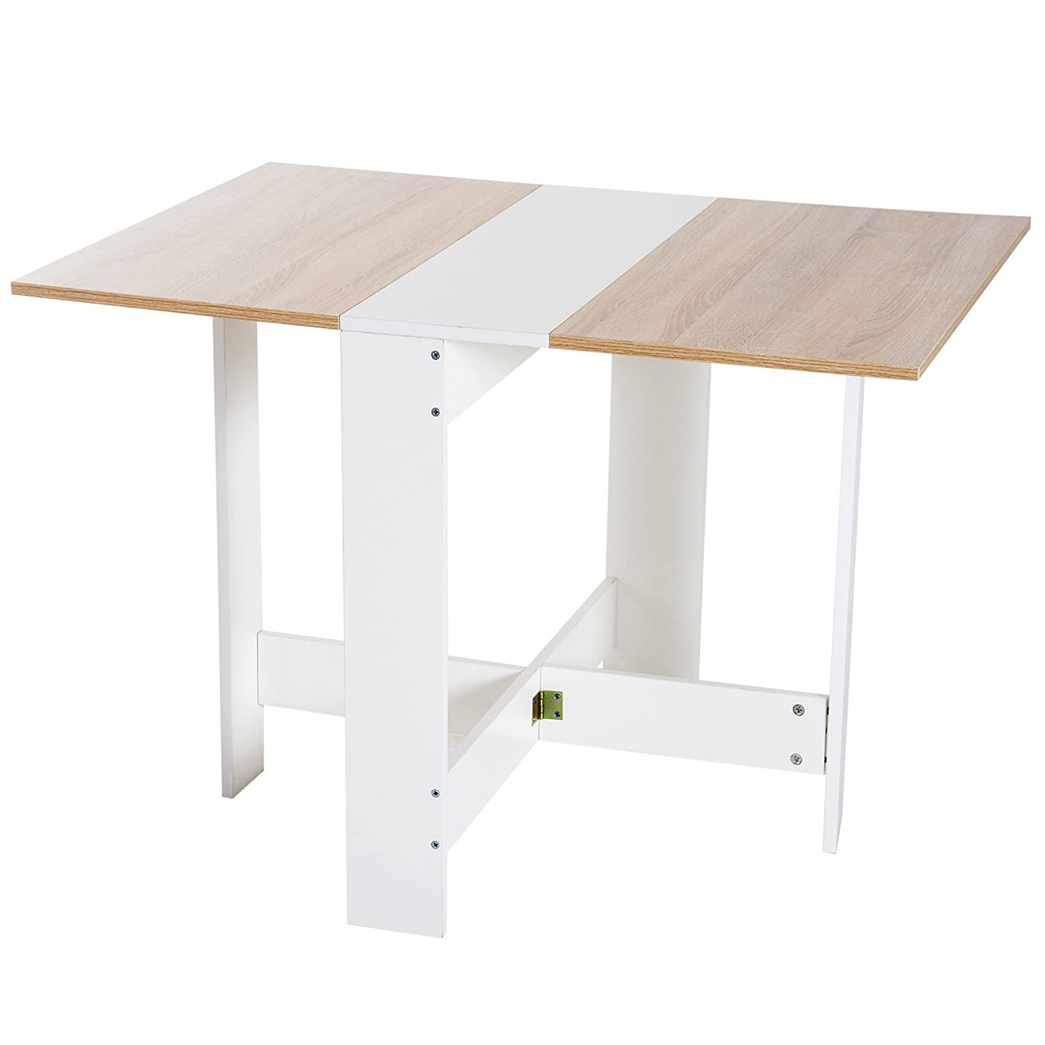 HOMCOM Drop Leaf Table Wood Folding Dining Table Multi-Use Side Table Dining Desk Space Saving Home Furniture White/Oak Aosom Canada