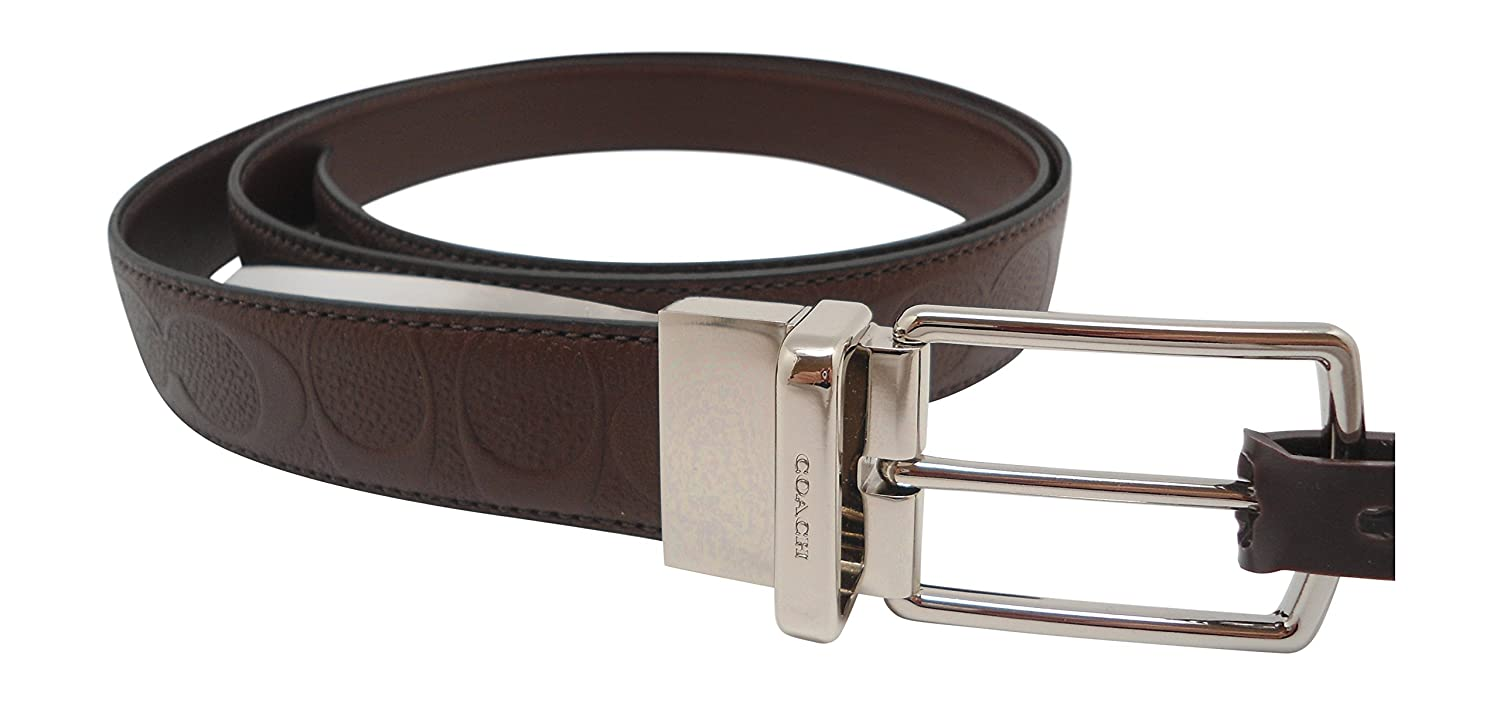 MAHOGANY COACH MODERN HARNESS CUT-TO-SIZE REVERSIBLE SIGNATURE LEATHER BELT F55158