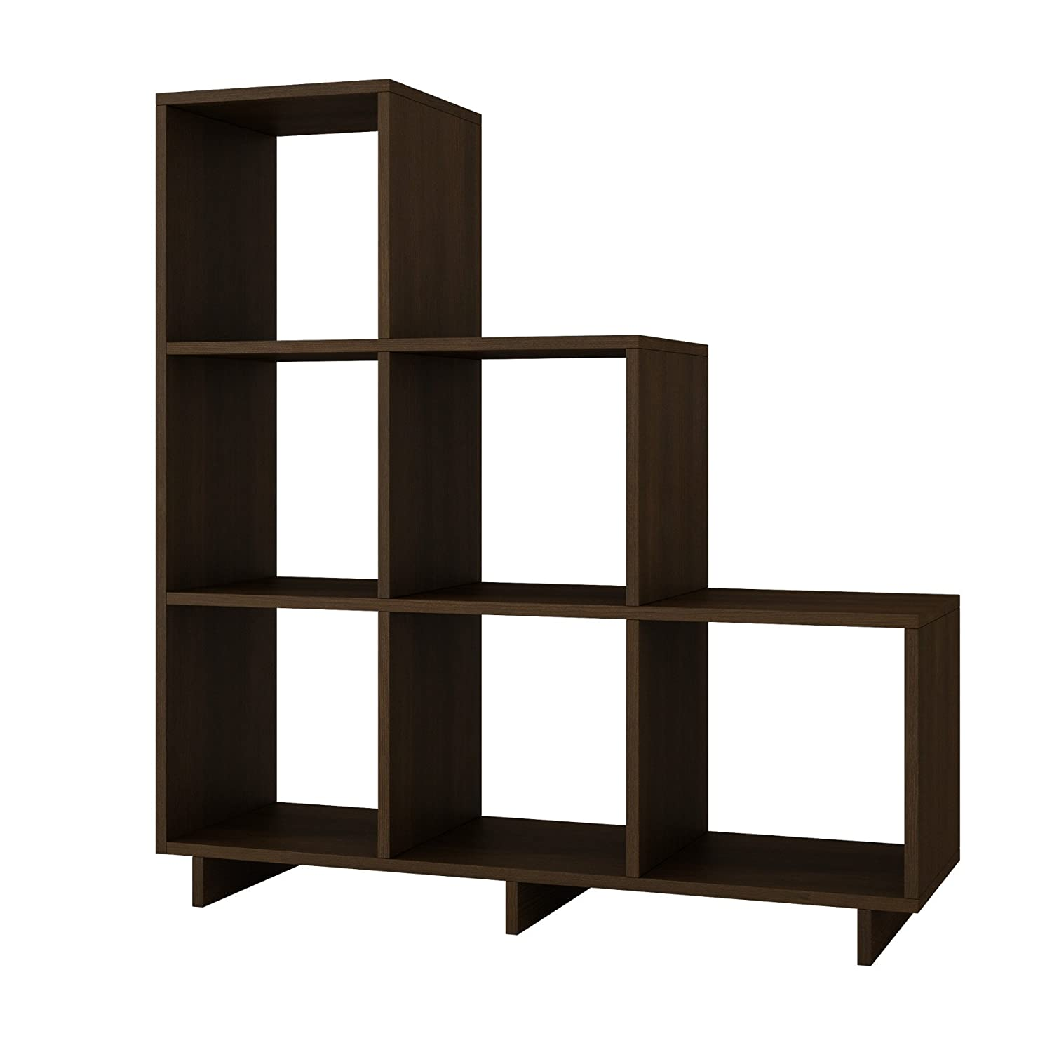 Design Stair Shelves amazon com stair cubby with 6 cube shelves modern style tobacco home kitchen