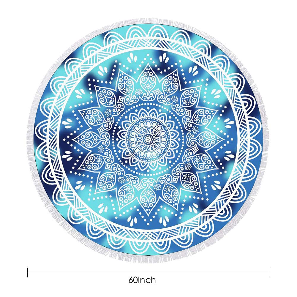 btcus4 Round Beach Towel Thick Microfiber Circle Blanket with Tassels Multi-Purpose Ultra Soft Super Water Absorbent Digital Printing High Color Fastness Sunscreen Yoga Mat Camping (119-blue Mandala)
