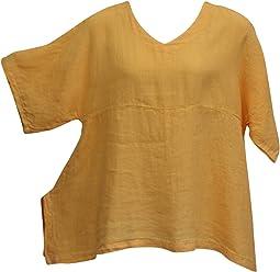 19e5aa52f5b Match Point Women's Warm Apricot Linen Kimono Tunic Oversized