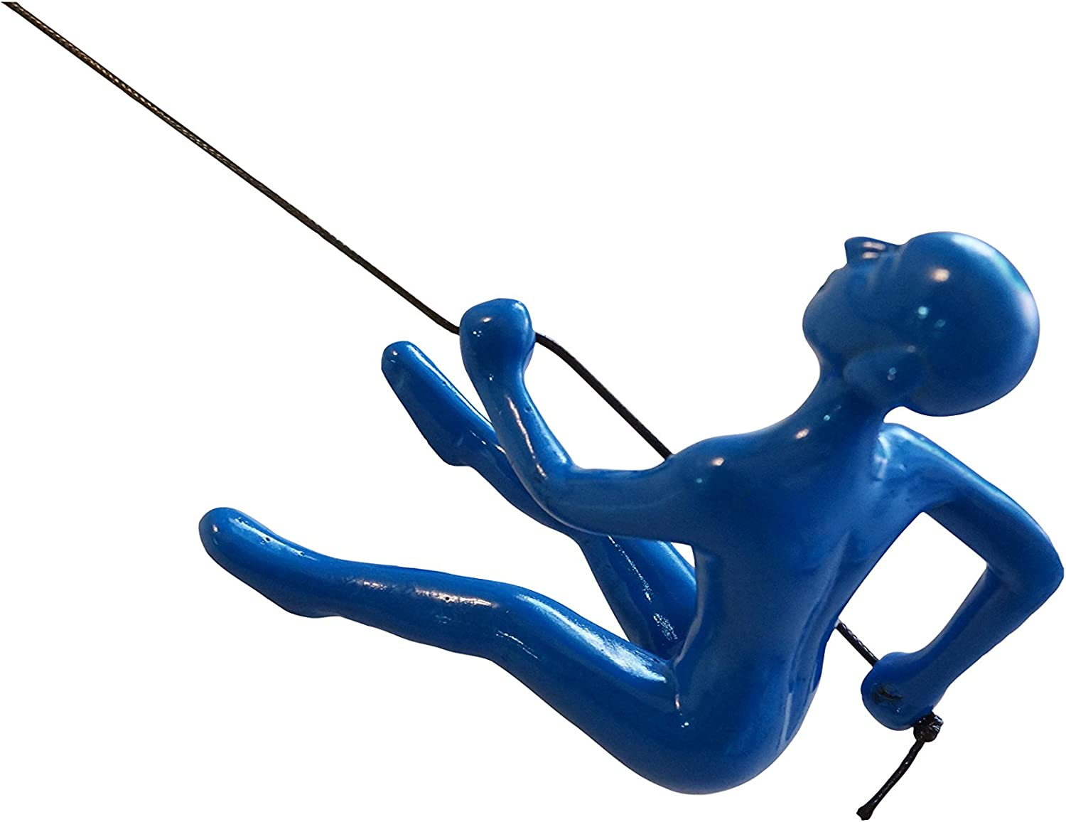 "Climbing Man 3D Hanging Wall Art Sculpture Durable Polyresin, 30"" Leathered Rope and Hanging Hardware Included Blue Color By Eladitems"