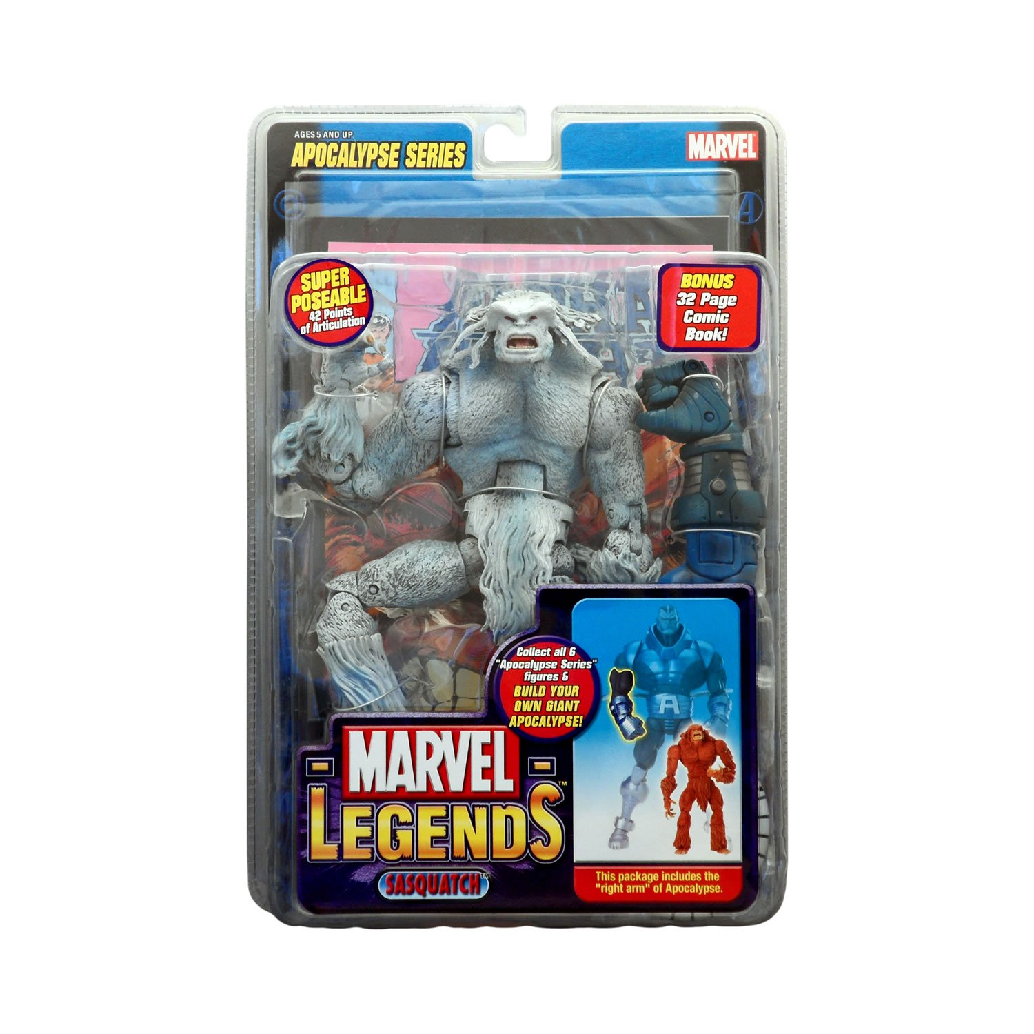 Right Arm of Apocalypse Plus Bonus 32 Page Comic Toy Biz 71164 Variant White SASQUATCH with Super Poseable 42 Points of Articulation Marvel Legends Year 2005 Apocalypse Series 9 Inch Tall Action Figure