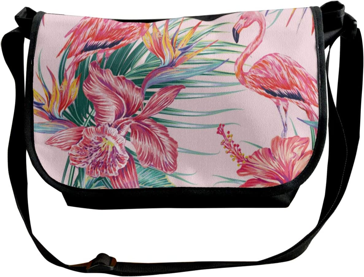 Exotic Hibiscus Orchid Palm Leaves Bird Of Paradise Flower Wide Crossbody Shoulder Bag For Women Small Phone Purse With Credit Card Holders Customized
