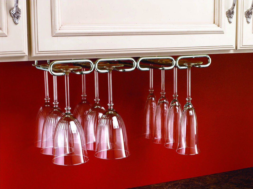 Home Treats Chrome Wine Glass Hanger Holder, Stemware Rack for Kitchen, Bar, Restaurant