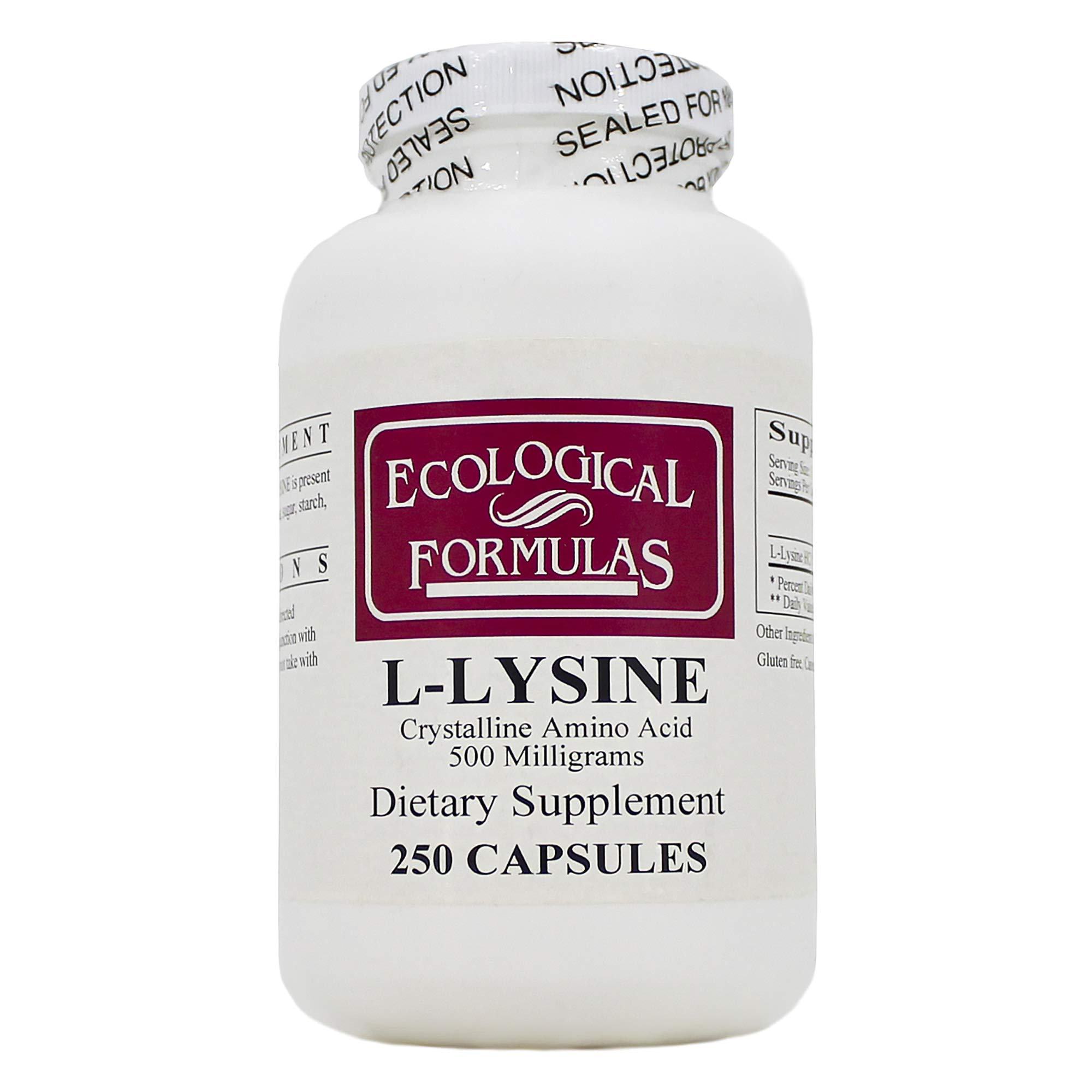 L-Lysine 500mg 250 Capsules - Pack of 2 by ECOLOGICAL FORMULAS - CARDIOVASCULAR RESEARCH