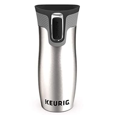 Keurig 14oz Contigo AUTOSEAL West Loop Vacuum Insulated Stainless Steel Coffee Travel Mug with Easy-Clean Lid, Works with K-Cup Pod Coffee Makers, Silver
