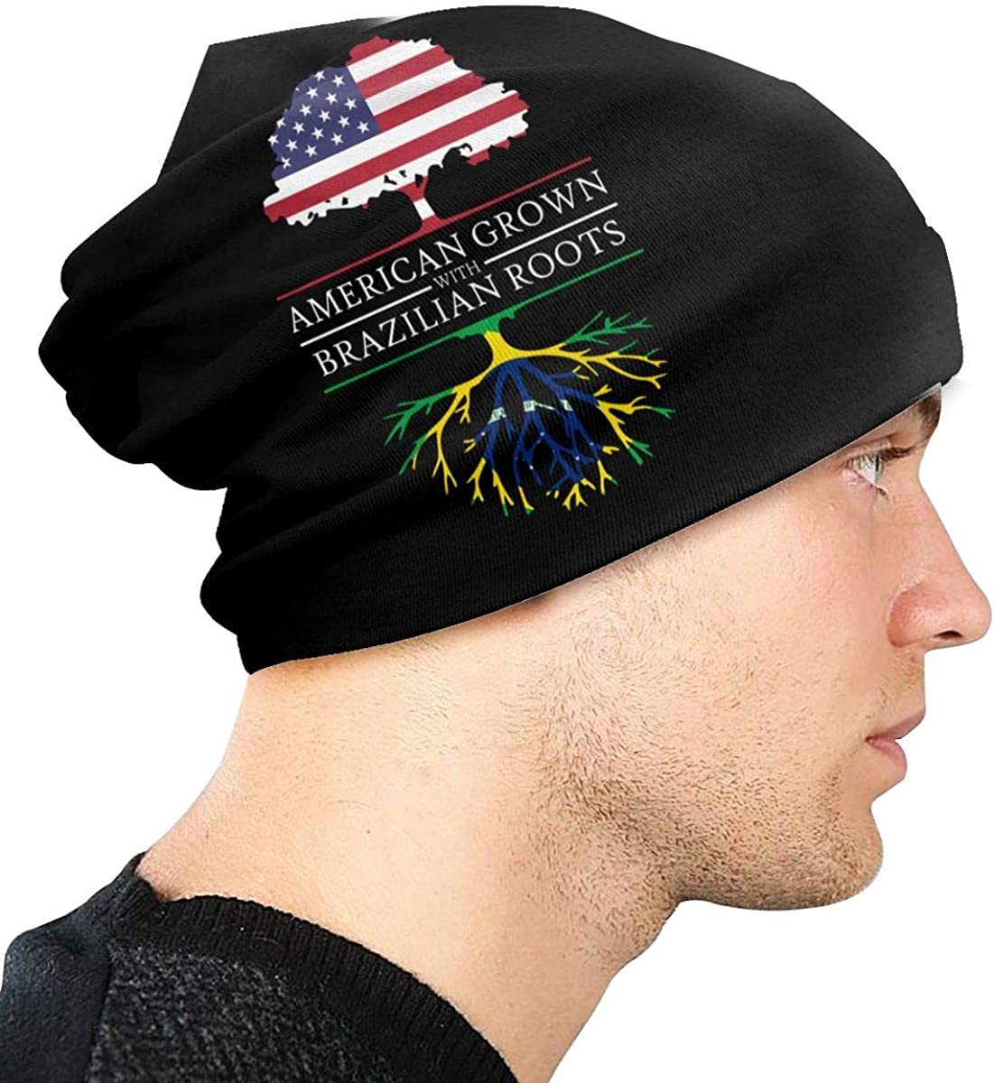 American Grown with Brazilian Roots Unisex Solid Color Beanie Hat Thin Stretchy /& Soft Winter Cap