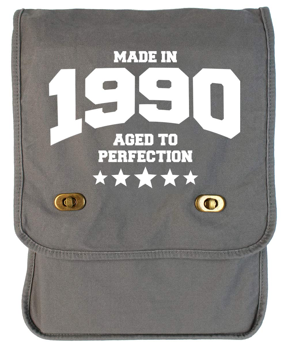 1990 Grey Brushed Canvas Messenger Bag Tenacitee Athletic Aged to Perfection