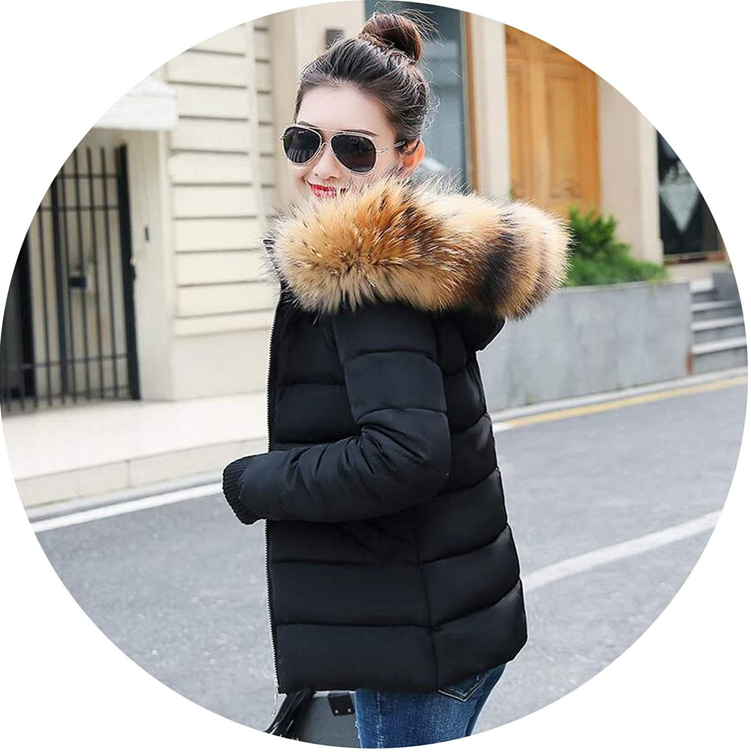 Black 3 Winter Jacket Women Hooded Winter Women's Jacket Thicken Warm Parka Jacket Women's Winter Coat
