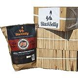 BlackSellig 24 Kg Anfeuerholz perfekt trocken und sauber + 50 Stück natürliche Anzünder