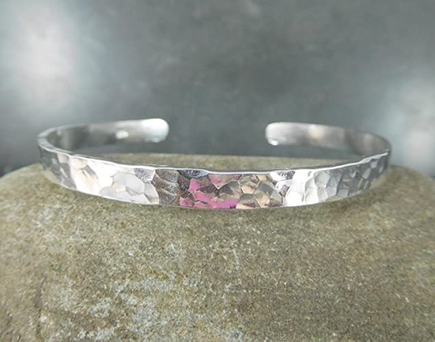 3ae010ee6c4 Image Unavailable. Image not available for. Color: Hammered 5mm Wide Sterling  Silver Cuff Bangle Bracelet 925 Solid Silver Simple Jewelry