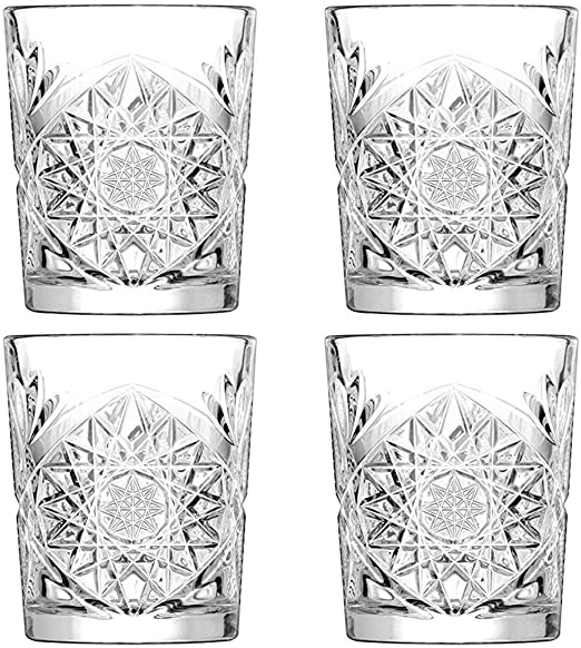 Set of 12 Hobstar Double Old Fashioned Glasses 12oz 340ml Vintage Cut Glass Whisky Tumblers