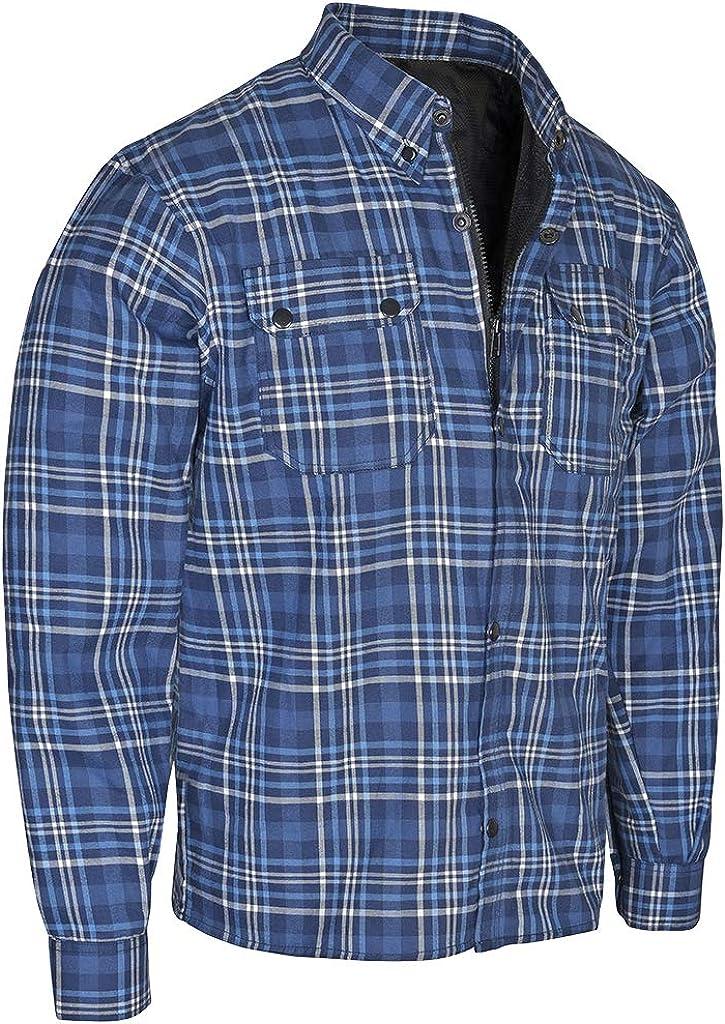 Gentry Choice Motorbike Riding Cotton Flannel Denim Blue Reinforced Shirt