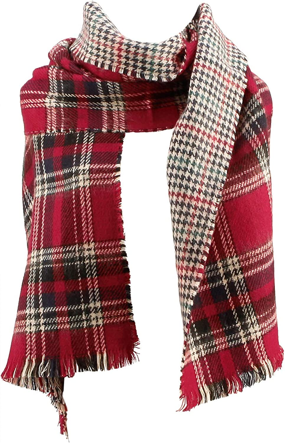 CHERRY CAT Plaid Scarf...