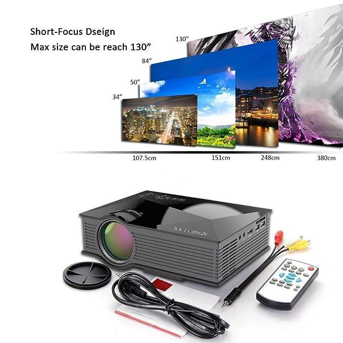 Unic UC46 Multimedia Mini Proyector LED HD 1080P con la Pantalla ...
