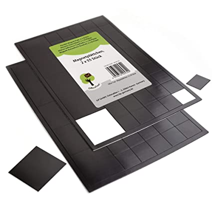 OfficeTree® - 2 x 55 láminas de imán, 20 x 20 mm, autoadhesivas para una imantación fiable de carteles, fotos o papel, fuerza de adhesión extra fuerte ...