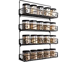 SWOMMOLY Wall Mount Spice Rack, 4 Pack Large-capacity Spice Racks,Stackable Foldable Organizer, Black, Large