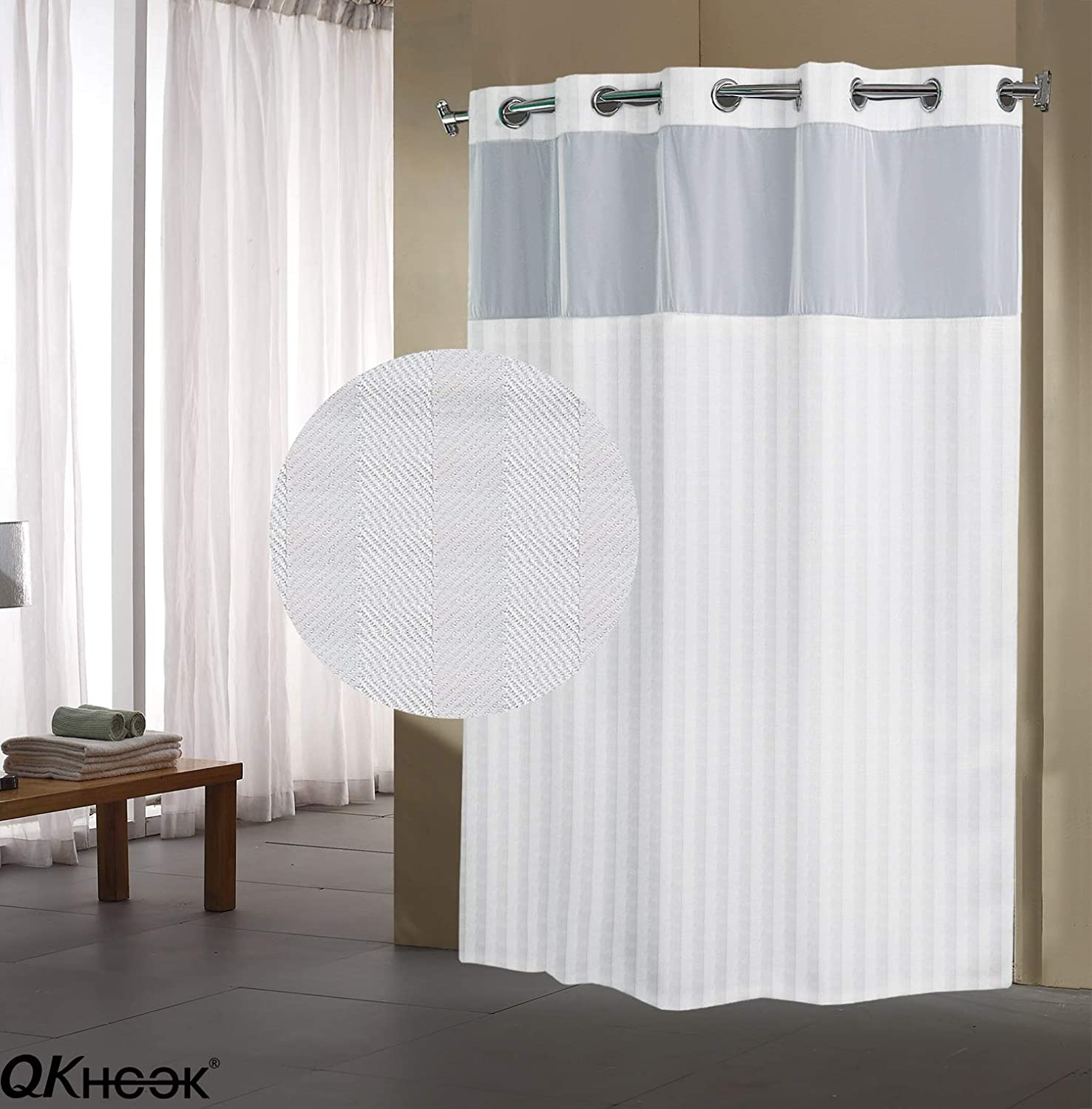 QKHOOK Snap-in Fabric Liner for Shower Curtain 1 Pack Waterproof 70x54 inches