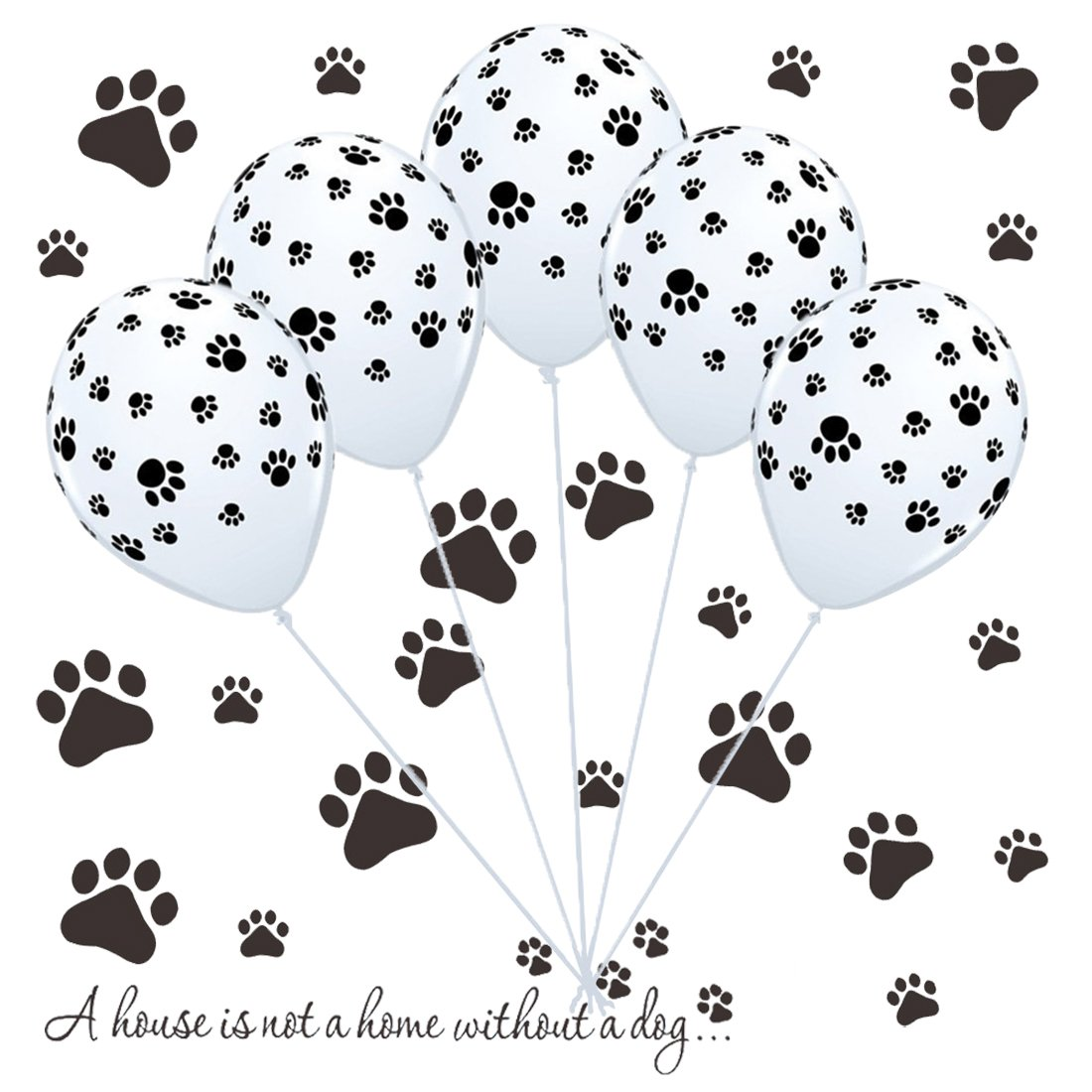 50 Dog Paw Print Balloons & Vinyl Decals Kit for Paw Patrol Birthday Party, Puppy Party, Dog Animal Rescue Events
