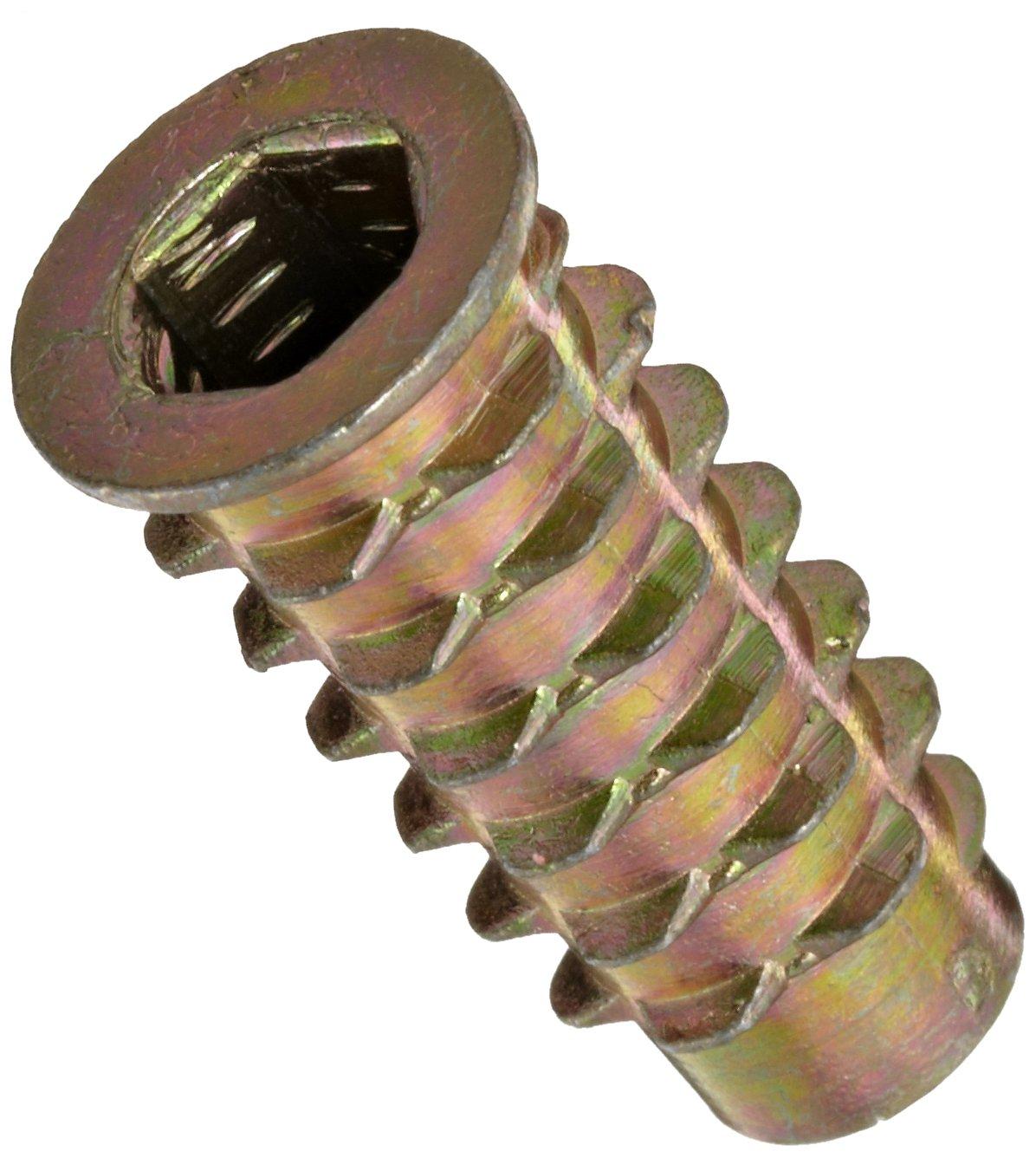 """E-Z Lok Threaded Insert, Zinc, Hex-Flanged, 1/4""""-20 Internal Threads, 25mm Length (Pack of 50)"""