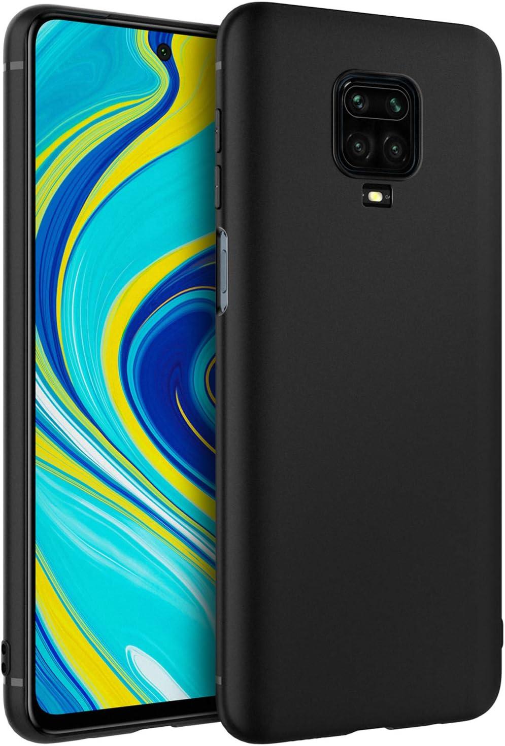EasyAcc Funda para Xiaomi Redmi Note 9S/9 Pro/Pro MAX Suave TPU Case Protectora Trasera Mate Delgada Carcasa - Negro