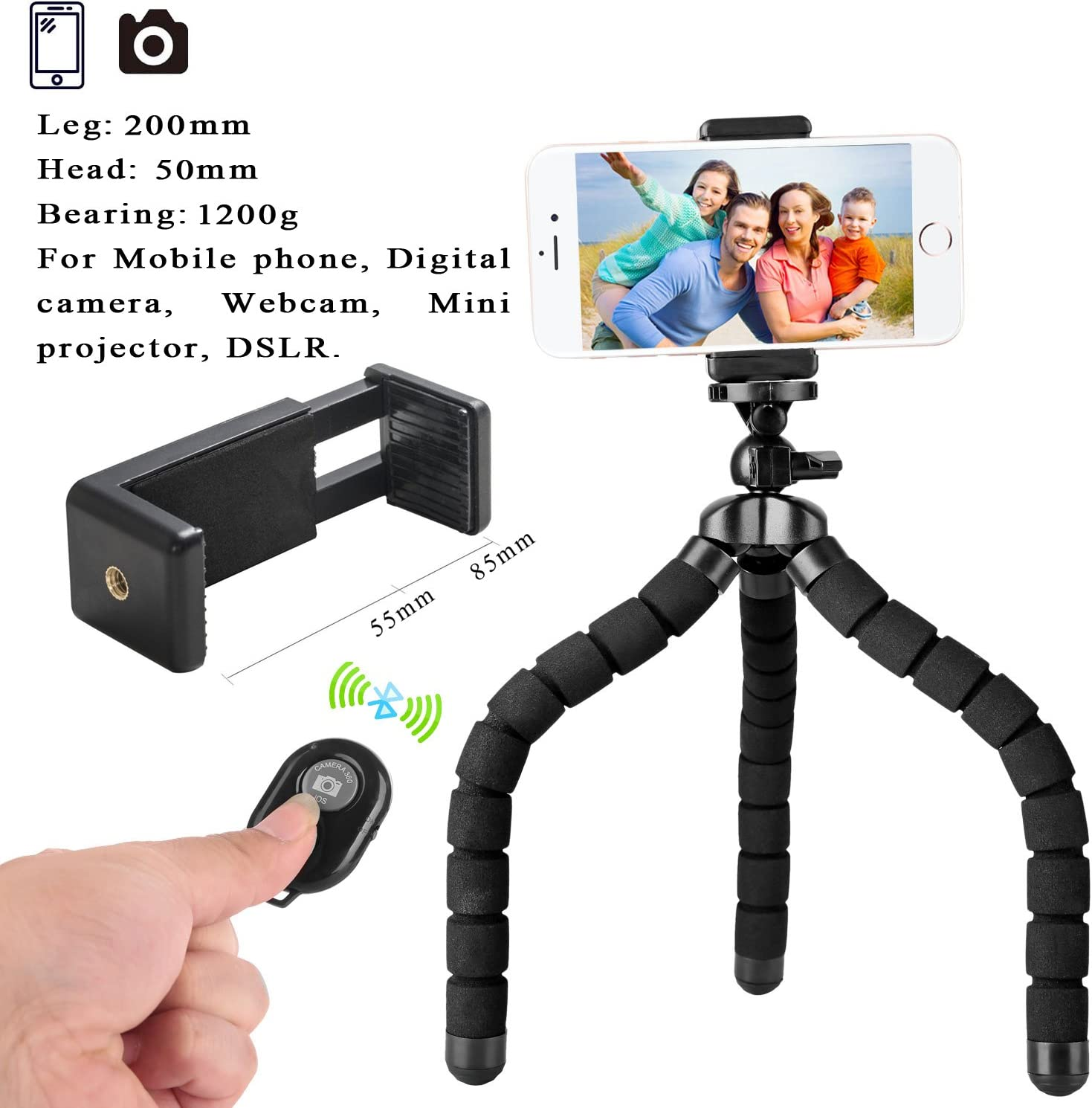 Trípode Flexible para móvil de tamaño Grande para iPhone con Soporte para teléfono móvil y Control Remoto para Todos los Smartphone, como iPhone 7 Plus, Samsung S7 Edge y cámara: Amazon.es: Electrónica
