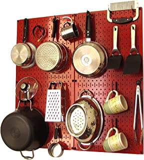product image for Wall Control Kitchen Pegboard Organizer Pots and Pans Pegboard Pack Storage and Organization Kit with Red Pegboard and Black Accessories