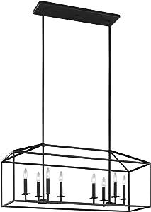 Sea Gull Lighting 6615008-839 Perryton Eight-Light Island Pendant Hanging Modern Light Fixture, Blacksmith Finish