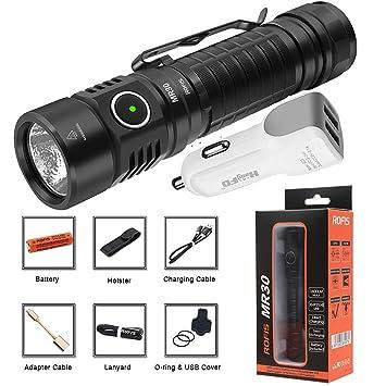 Amazon.com: Rofis MR30 Linterna USB Recargable CREE XHP35 HI ...