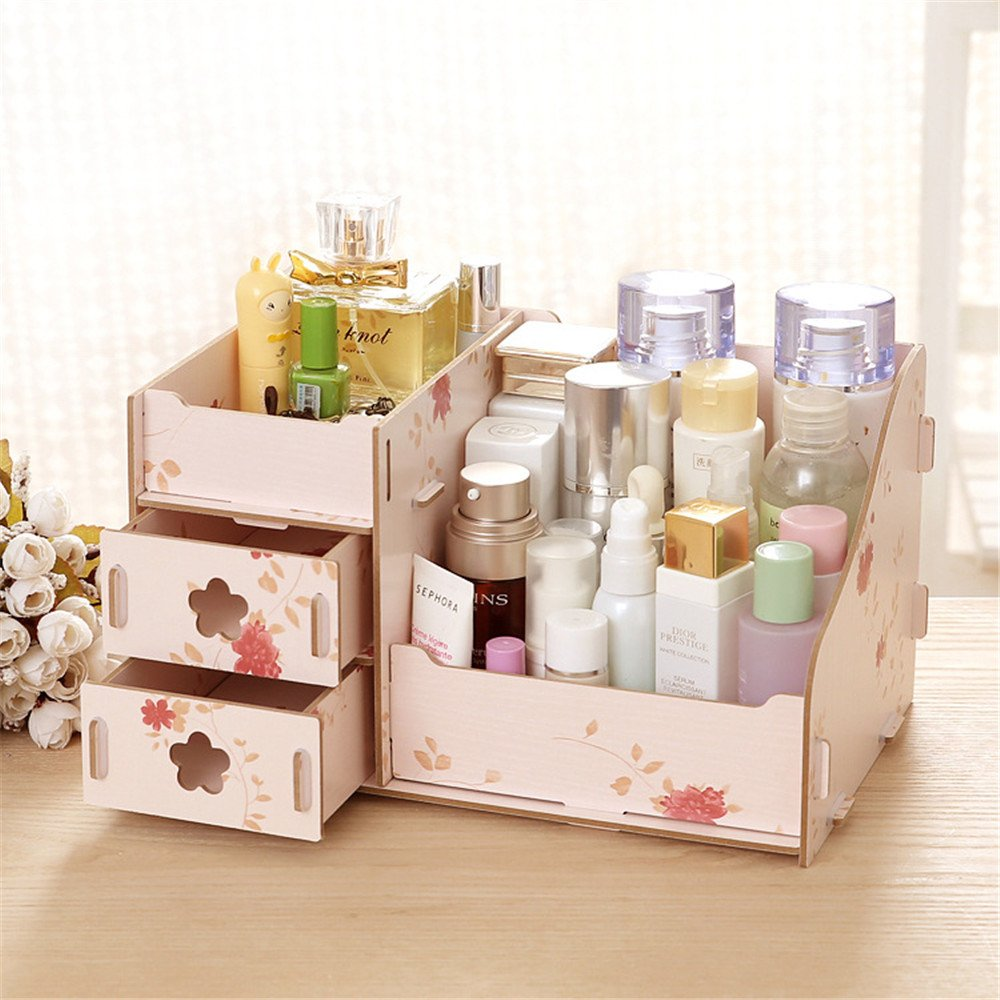 EVIICC Cosmetic Organiser Makeup Storage Box with Drawers for Bathroom Bedroom (Need Assemble) Wooden Size S Beige