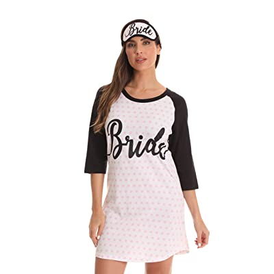 Just Love Wedding Collection Bride & Bridal Squad Night Shirt with Matching Sleep Mask at Women's Clothing store