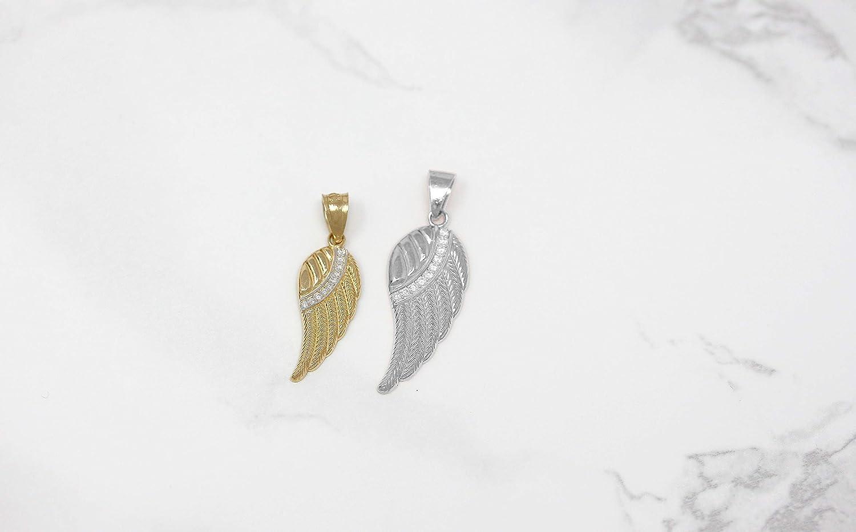 CaliRoseJewelry 10k and 14k Yellow Gold Feather Angel Wing Diamond Pendant JewelryDepotUSA MP1980YG-10k-LG